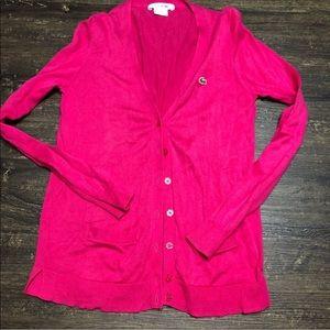 Lacoste Fuchsia Button Up Cardigan Sweater Size XS